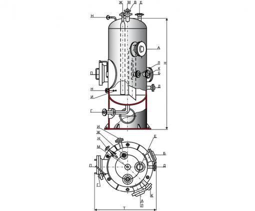 Аппараты емкостные цилиндрические для газовых и жидких сред. Тип II