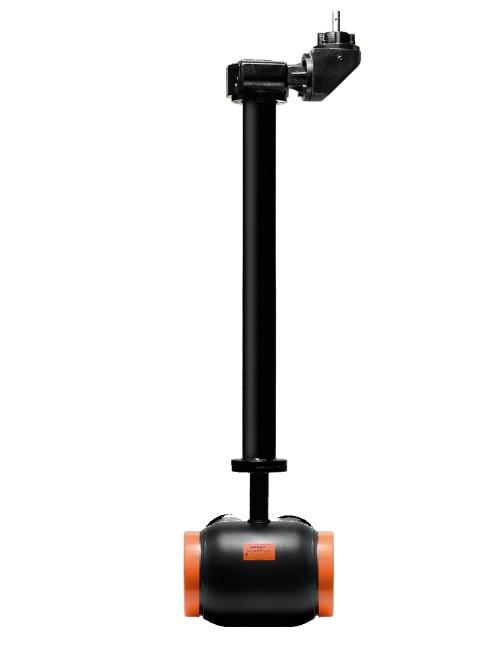 Стальной шаровой кран «Бивал» серии КШТ 24 с функцией удлинения штока и редуктором, полный проход