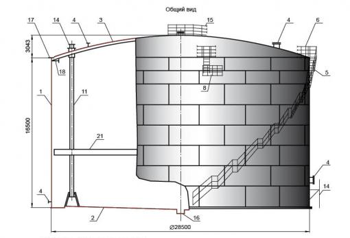 Резервуар V=10000 м3 для бензина с понтоном