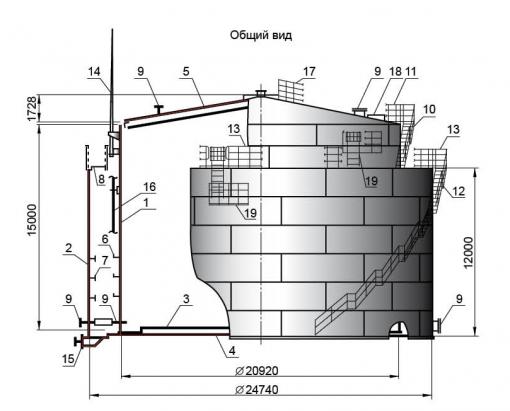 Резервуар V=5000 м3 для дизельного топлива с защитной стенкой