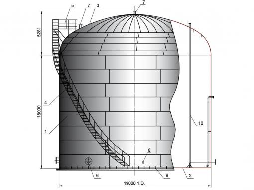 Резервуар V=5000 м3 для нефти