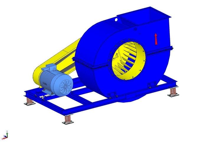 Вентилятор радиальный ВР9-55-12,5; ВР9-55-12,5К1 с типоразмером двигателя АИР225М6